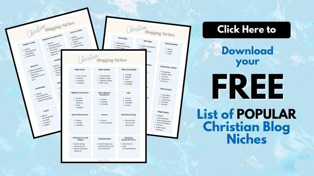 Free Christian Blogging Niches Worksheet