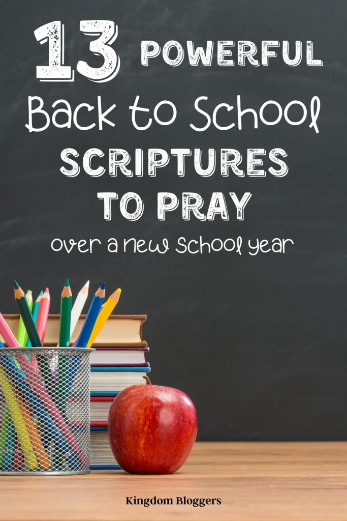 chalkboard with writing that says back to school scriptures to pray