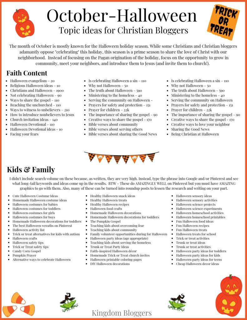 October Halloween Blog Post Ideas