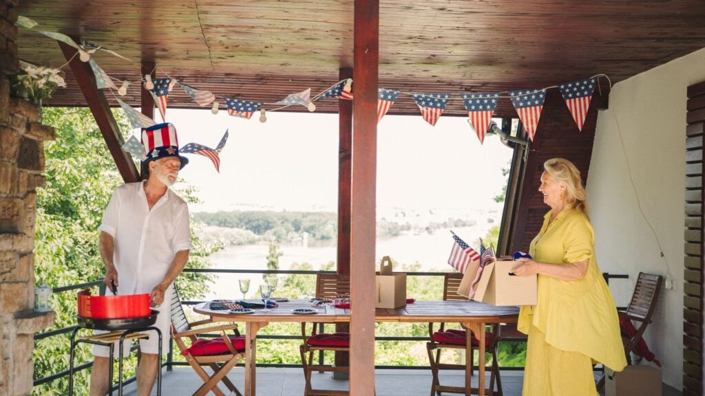 man hosting a patriotic party for the neighborhood
