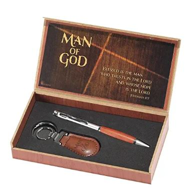 metal pen and keychain in a wooden box for man of god