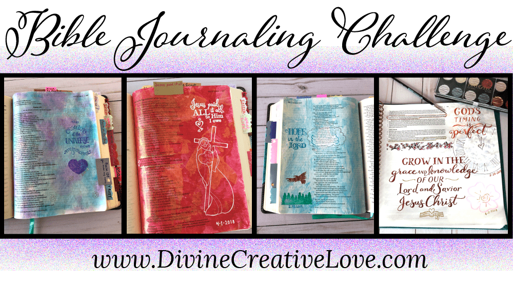 4 pages of bible journaling art work