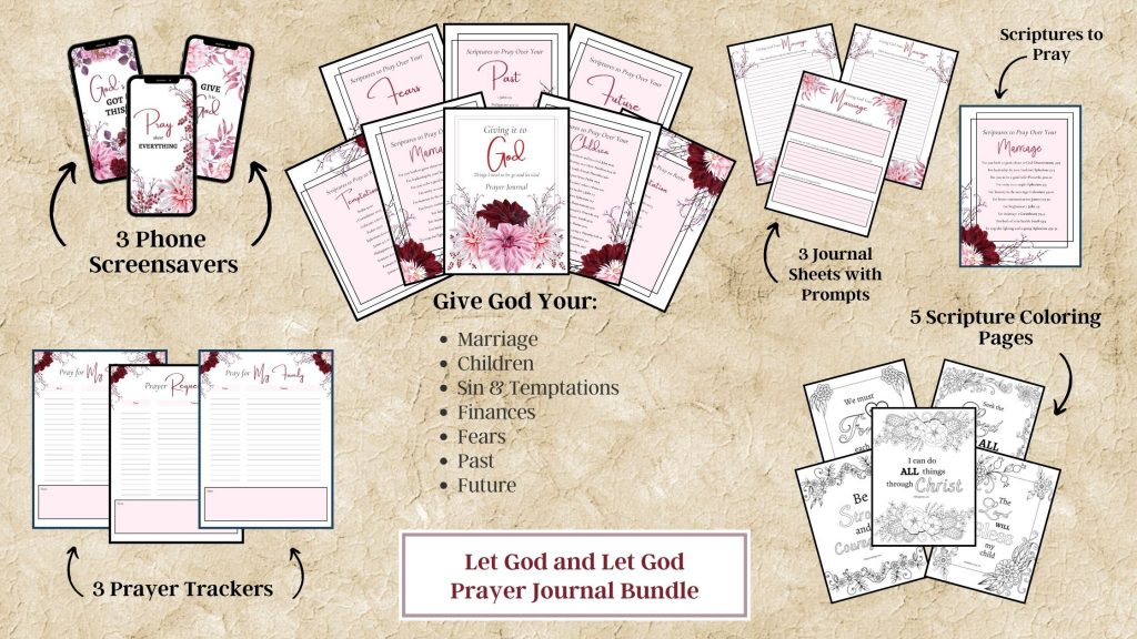 Pink floral Let go and Let God Prayer Journal Pages with Screensavers