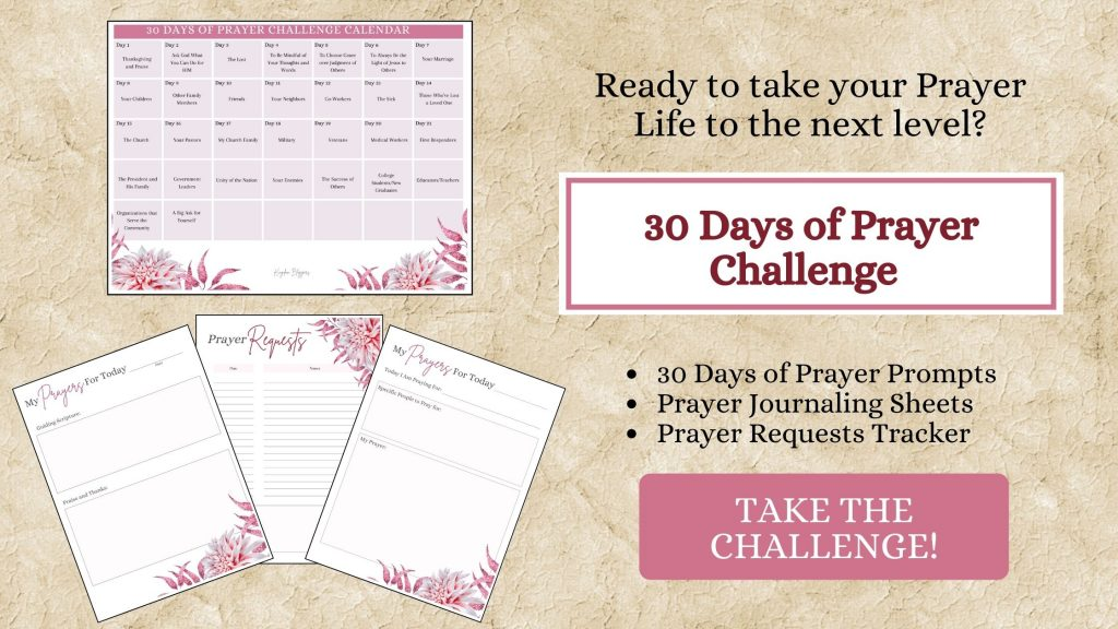 tan background with a prayer challenge and worksheets on top