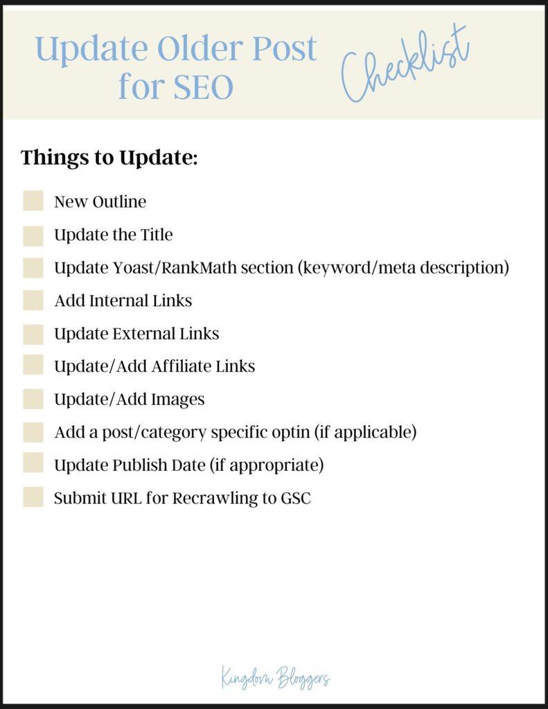 Update Older Post Checklist