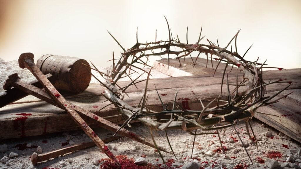 the blood of Jesus on a crown of thorns and nails
