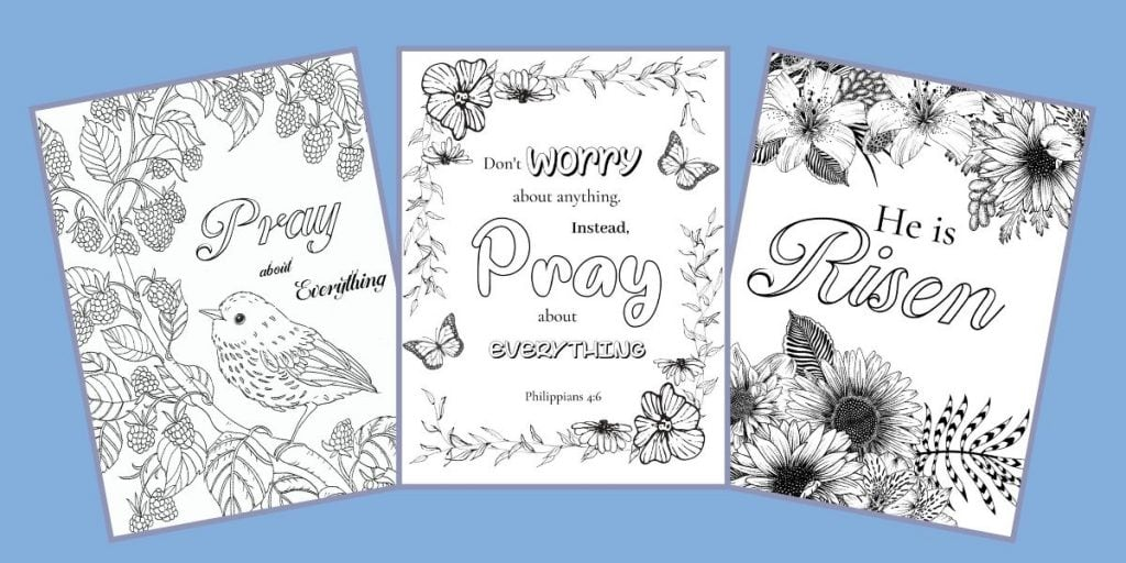 3 bible verse coloring pages on a blue background