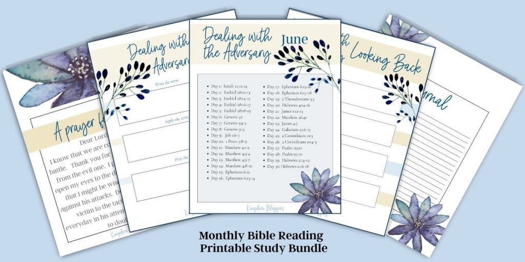 5 pages of Bible study worksheets spread across a blue background