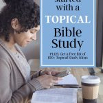 woman reading the bible with a cup of coffee