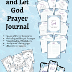blue background with prayer journal pages laid across it