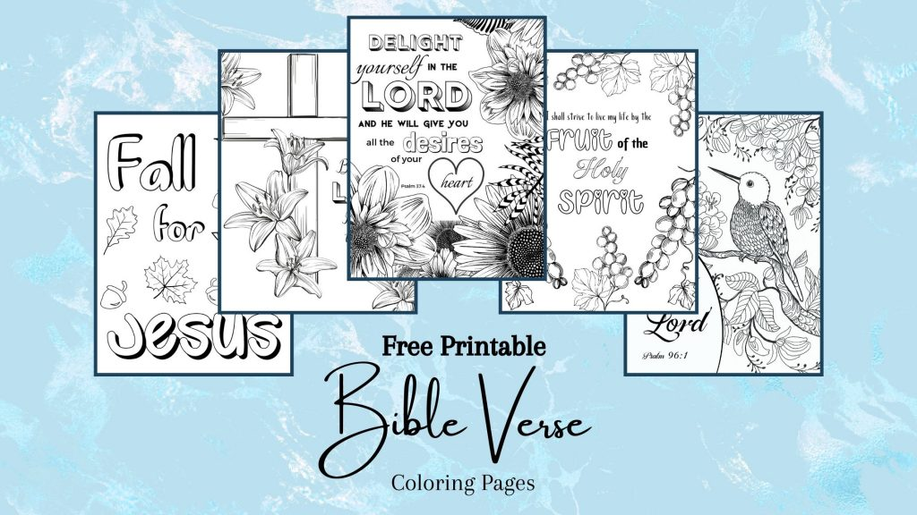 Free Printable Bible Verse Coloring Pages on a blue background