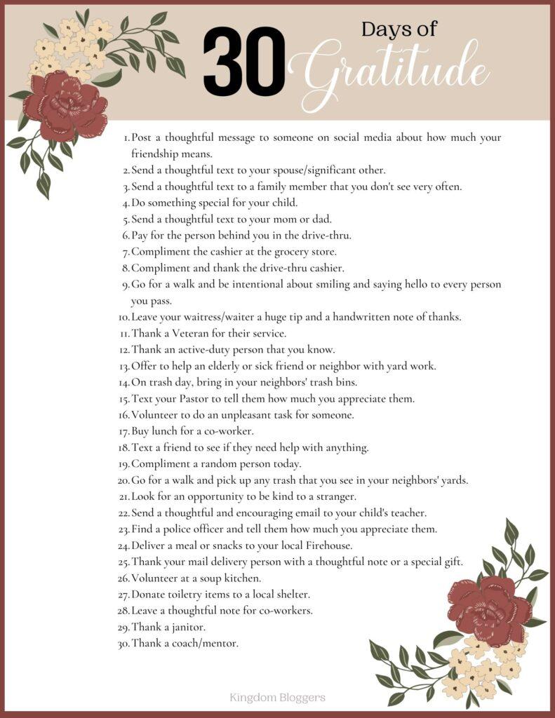 30 Days of Gratitude Challenge Prompts