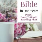 How to Read the Bible in One Year sign on a desk with a bible and pink flowers