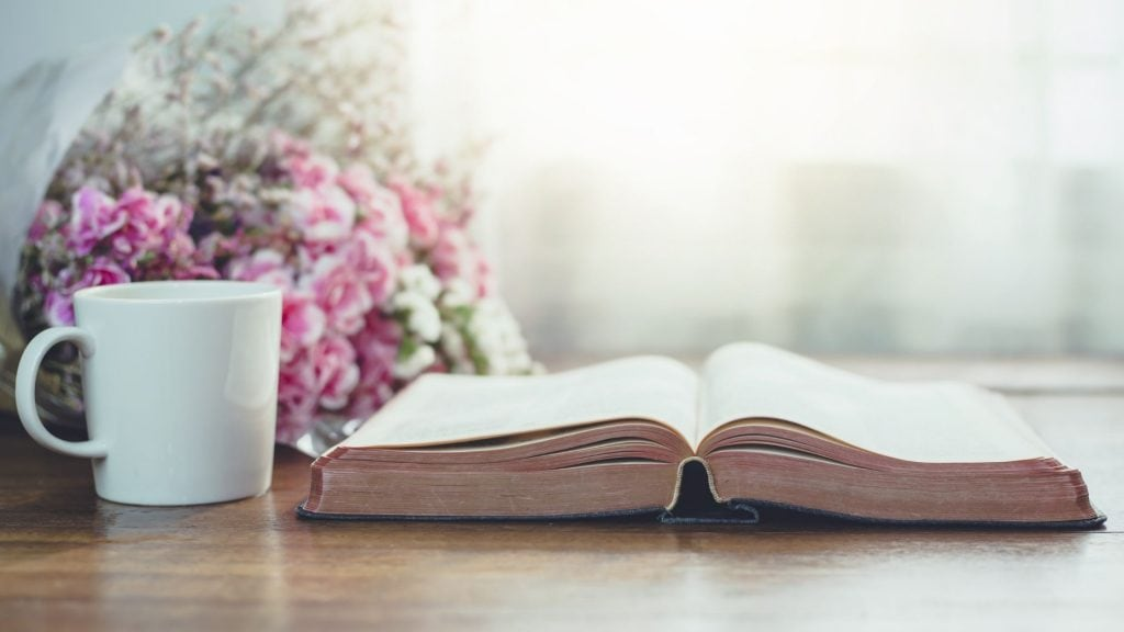 Read-the-Bible-in-One-Year-with-a-cup-of-coffee-and-pink-flowers