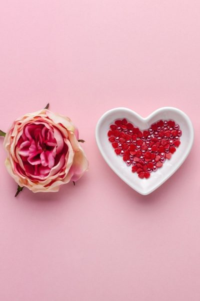 love spelled out on a pink background