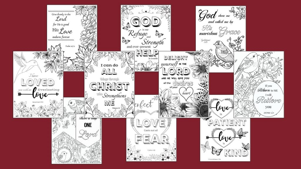bible verse art coloring pages on a maroon background