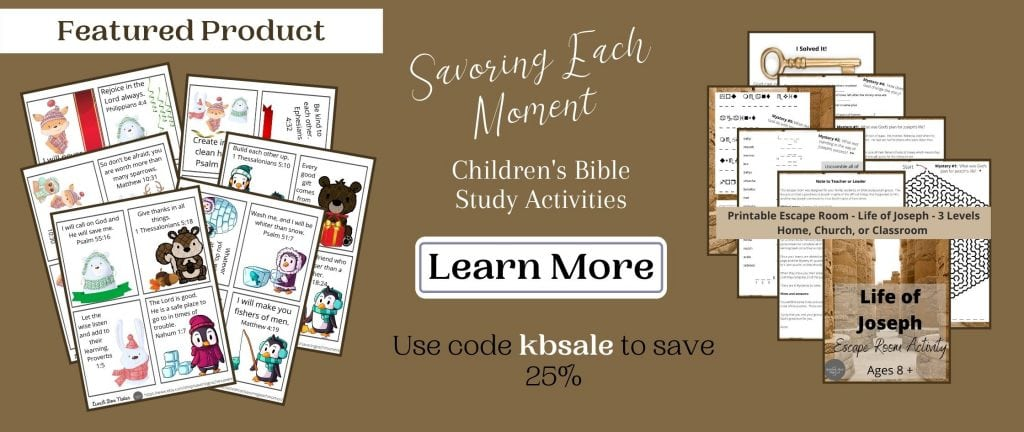 brown sale banner with child bible activity page mockups on it