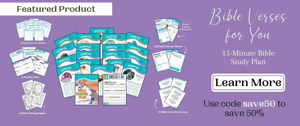purple sale banner with bible reading plan mockups on it