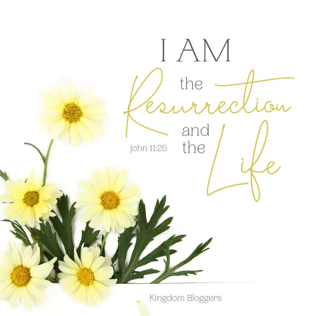 I am the resurrection and the life verse on a white background with yellow flowers