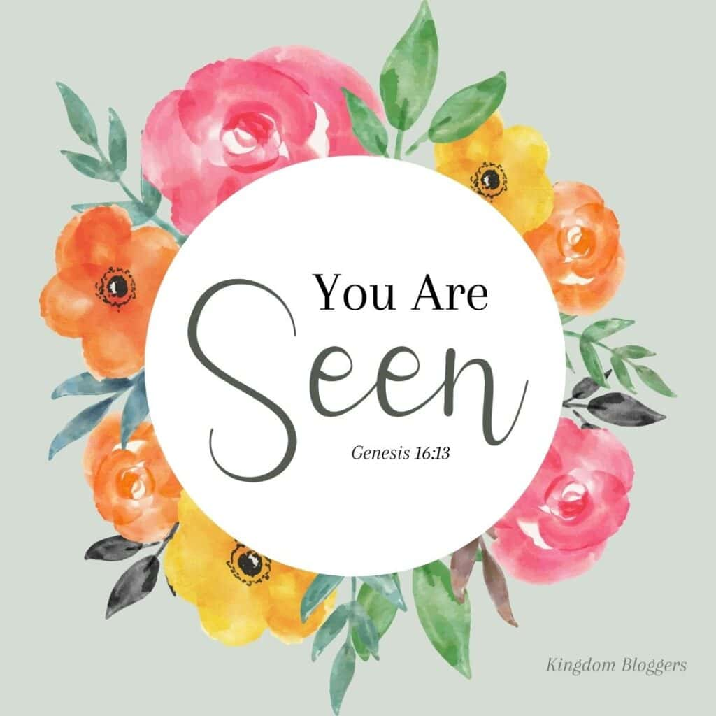 you are seen written in a floral wreath on a light green background