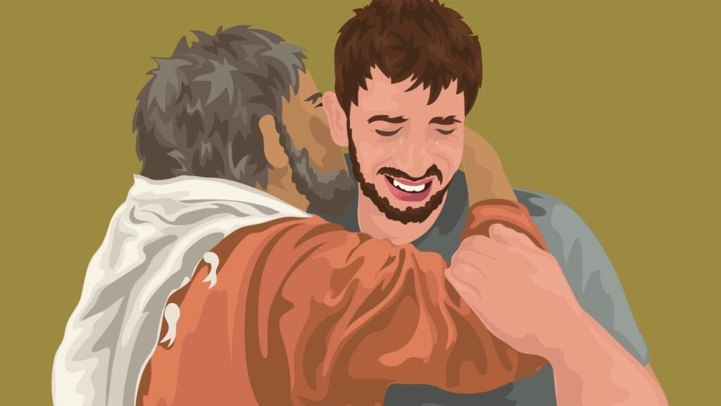 illustration of prodigal son being hugged by his father