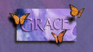 purple background with butterflies and the words grace across it