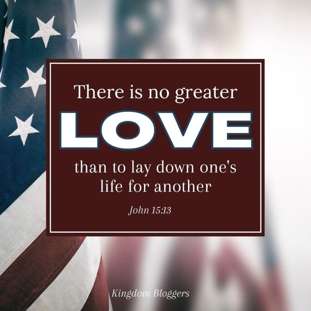john 15:13 verse on an american flag background