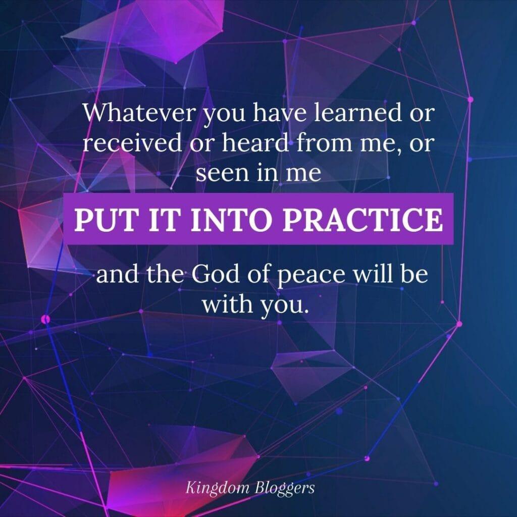Philippians 4.9 written on a purple background