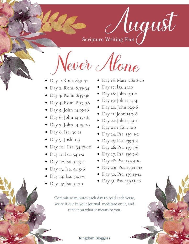 August Scripture Writing Plan