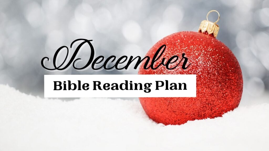 December Bible Reading Plan written over a backdrop of snow and a red ornament