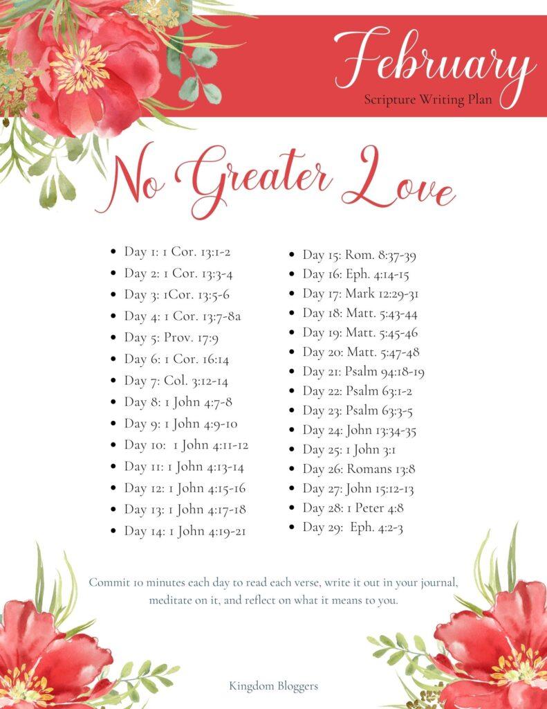 February Scripture Writing Plan