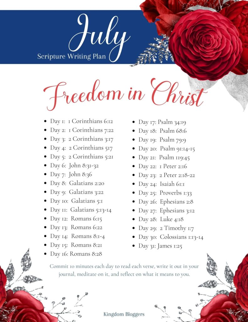 July Scripture Writing Plan