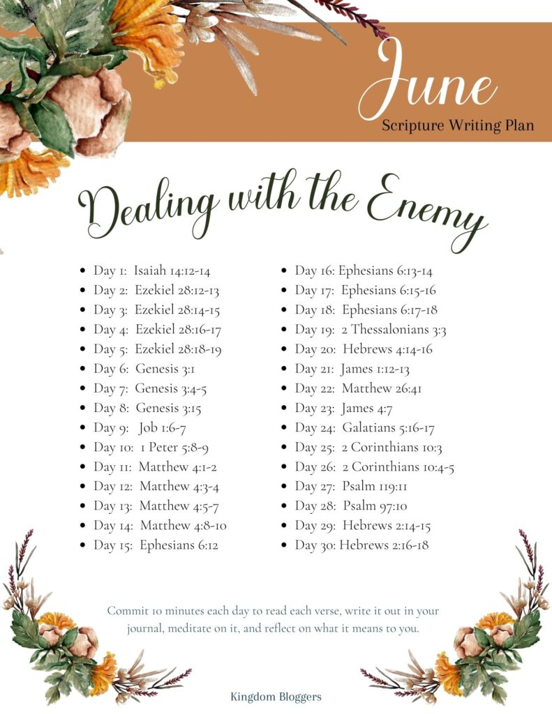 June Scripture Writing Plan
