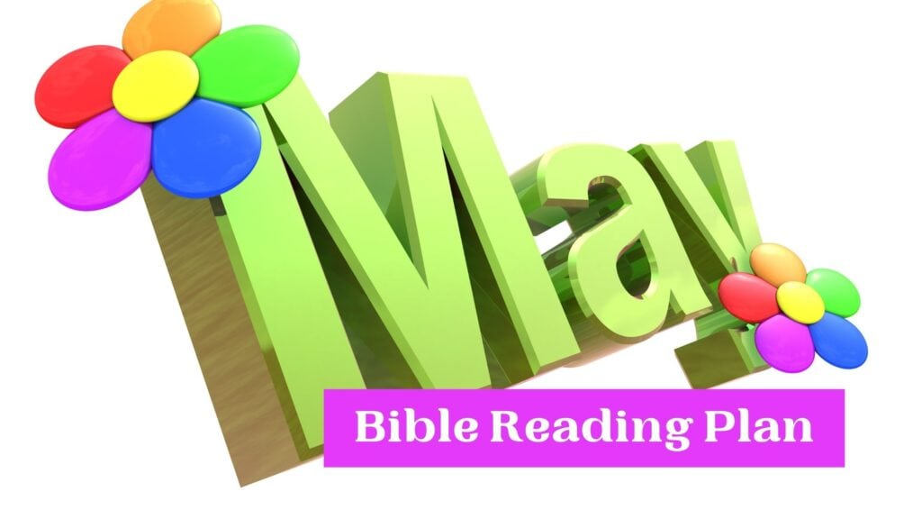 May Bible Reading Plan written in colorful letters