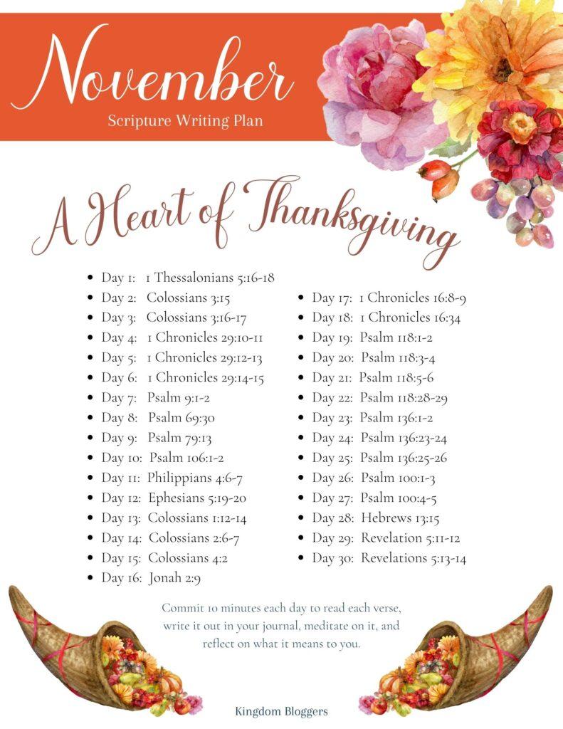 November Scripture Writing Plan