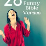 Woman laughing with a sign behind her that says 26 Funny Bible Verses