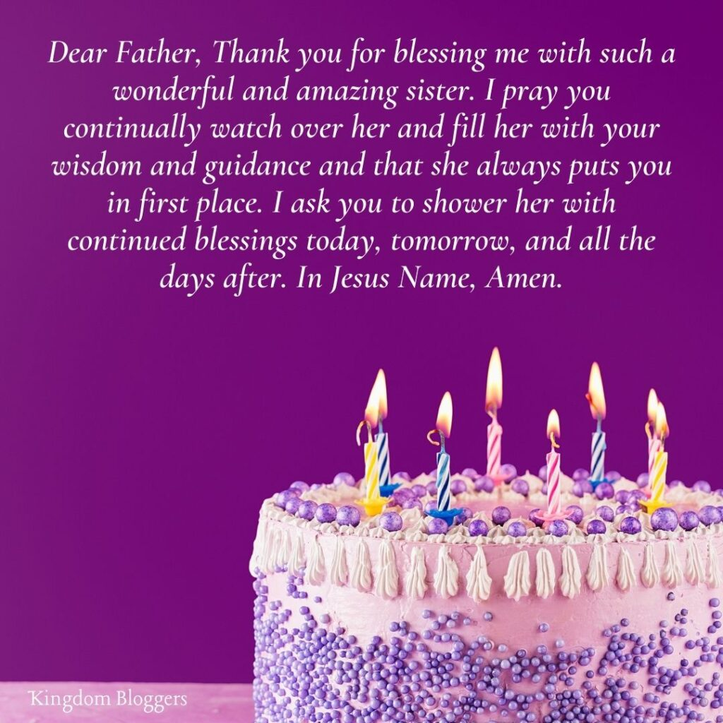 Birthday Prayer for Sister