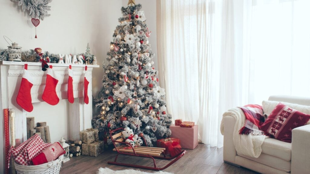 view of living room with a Christmas tree and holiday decor